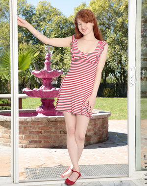 A sweet sundress clings to redhead Abby Rains's.. Pics